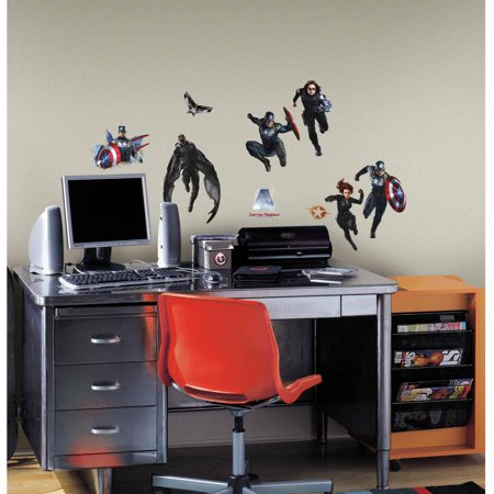 Captain america 2 peel and stick wall decals for Peel and stick wallpaper walmart