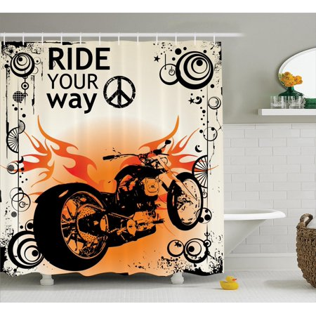 Manly Decor Motorcycle Image With Ride Your Way Text Peace Sign Freedom Action Freestyle Bathroom
