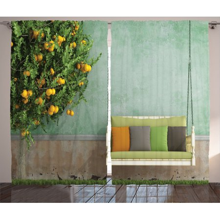 Country Home Decor Curtains 2 Panels Set Vintage Wooden