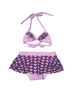 Little Girls Purple Lavender Heart Lovely Triangle 2 Pc Bikini Swimsuit