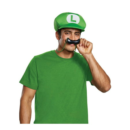 Super Mario Bros. Luigi Hat & Mustache Necklace Halloween Costume Accessory (Baby Cat In The Hat Halloween Costume)