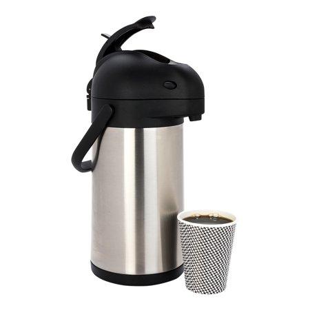 Stainless Steel Lever Airpot - Met Lux 2L Silver Stainless Steel Airpot Coffee Dispenser - Pump Lever, 24 hr Heat Retention - 6