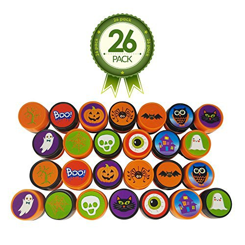 Halloween Stamps - Full 26 Piece Variety Pack With 13 Unique Stamp Designs - Ideal for Holiday Craft Stampers - Creative Kit for Science Fair Fun