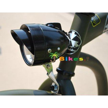 Dynamo Classic Retro Black Bicycle Headlight with Visor for Lowrider Beach Cruiser Comfort BMX Hybrid Bike, LED light bulbs, Hi-Low Beams. By Fito