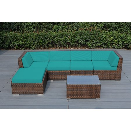 Ohana 6 Piece Outdoor Wicker Patio Furniture Sectional Conversation Set - Mixed Brown Wicker ()