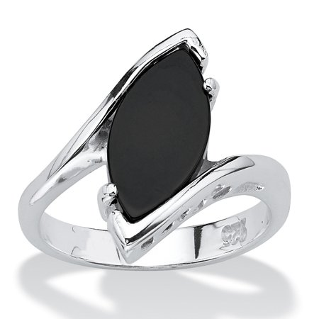 Marquise-Shaped Genuine Onyx Sterling Silver Classic Ring