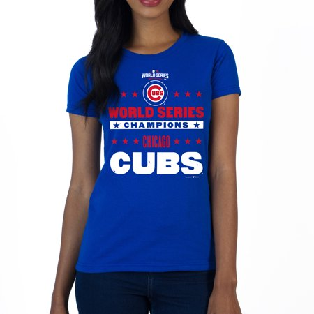 timeless design d9e8d 9d866 Chicago Cubs SustainU Women's 2016 World Series Champions Americana Crew  Neck T-Shirt - Royal