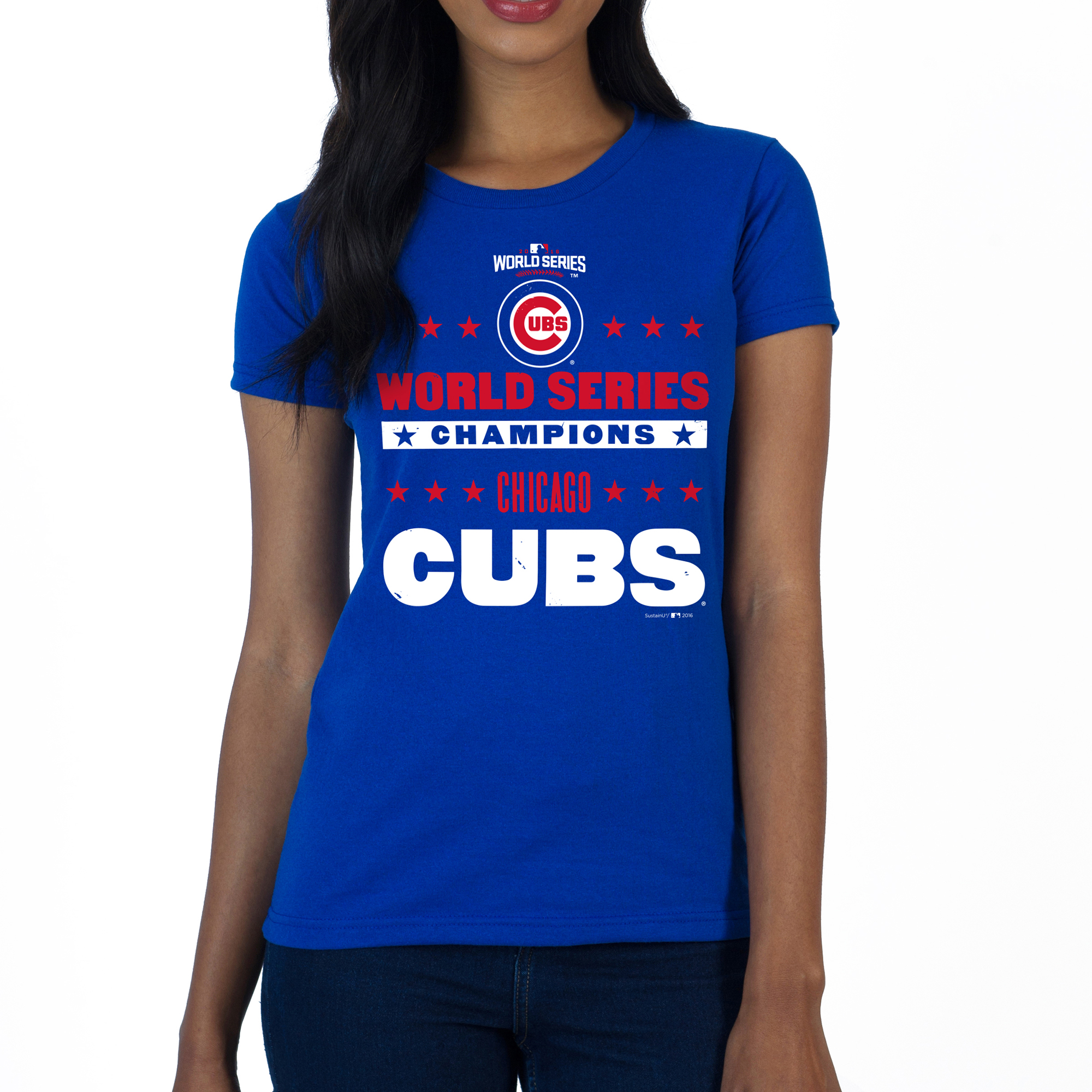 Chicago Cubs SustainU Women's 2016 World Series Champions Americana Crew Neck T-Shirt - Royal