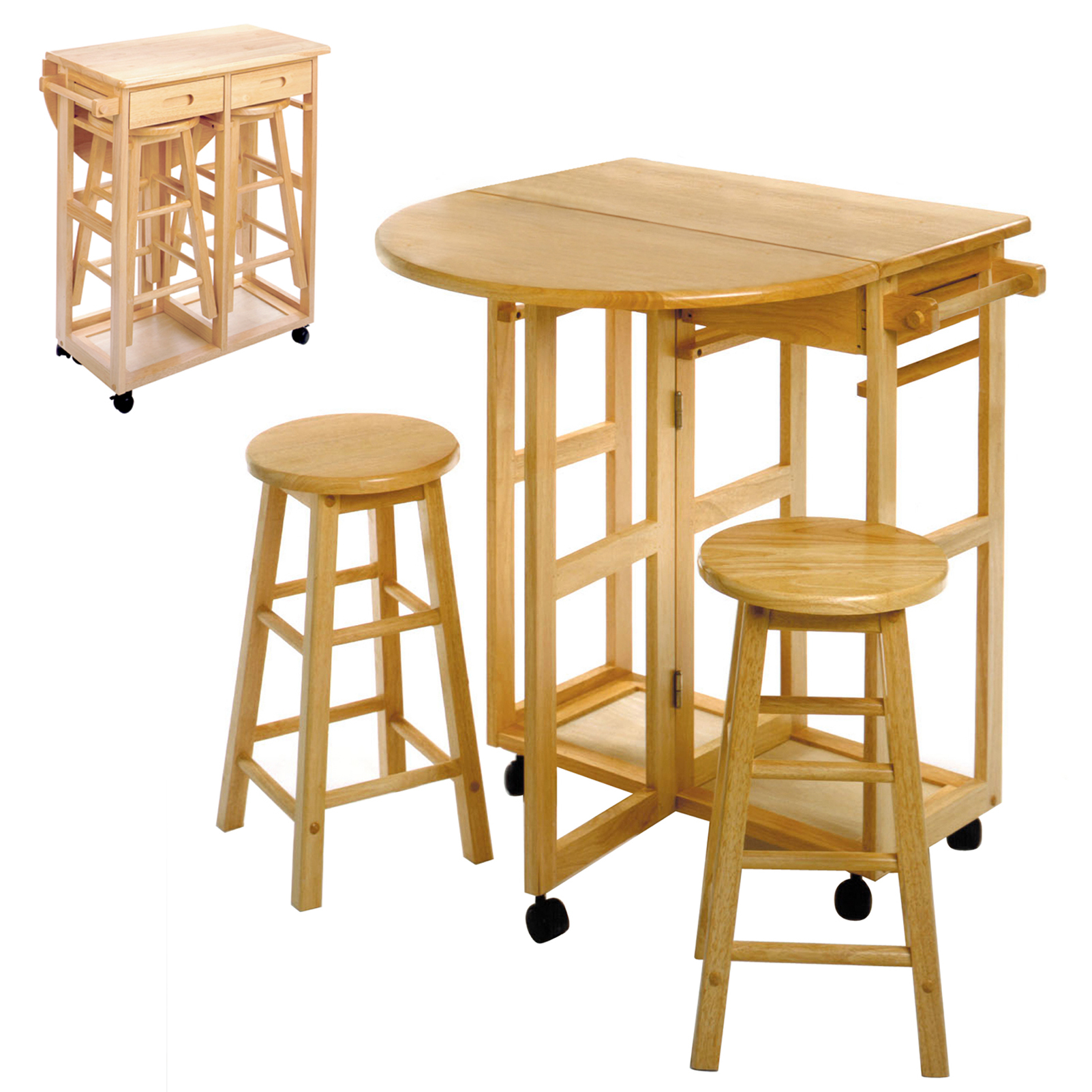 "Winsome Wood 89332 32.8"" Beech Wood Breakfast Bar Cart With 2 Round Stools"