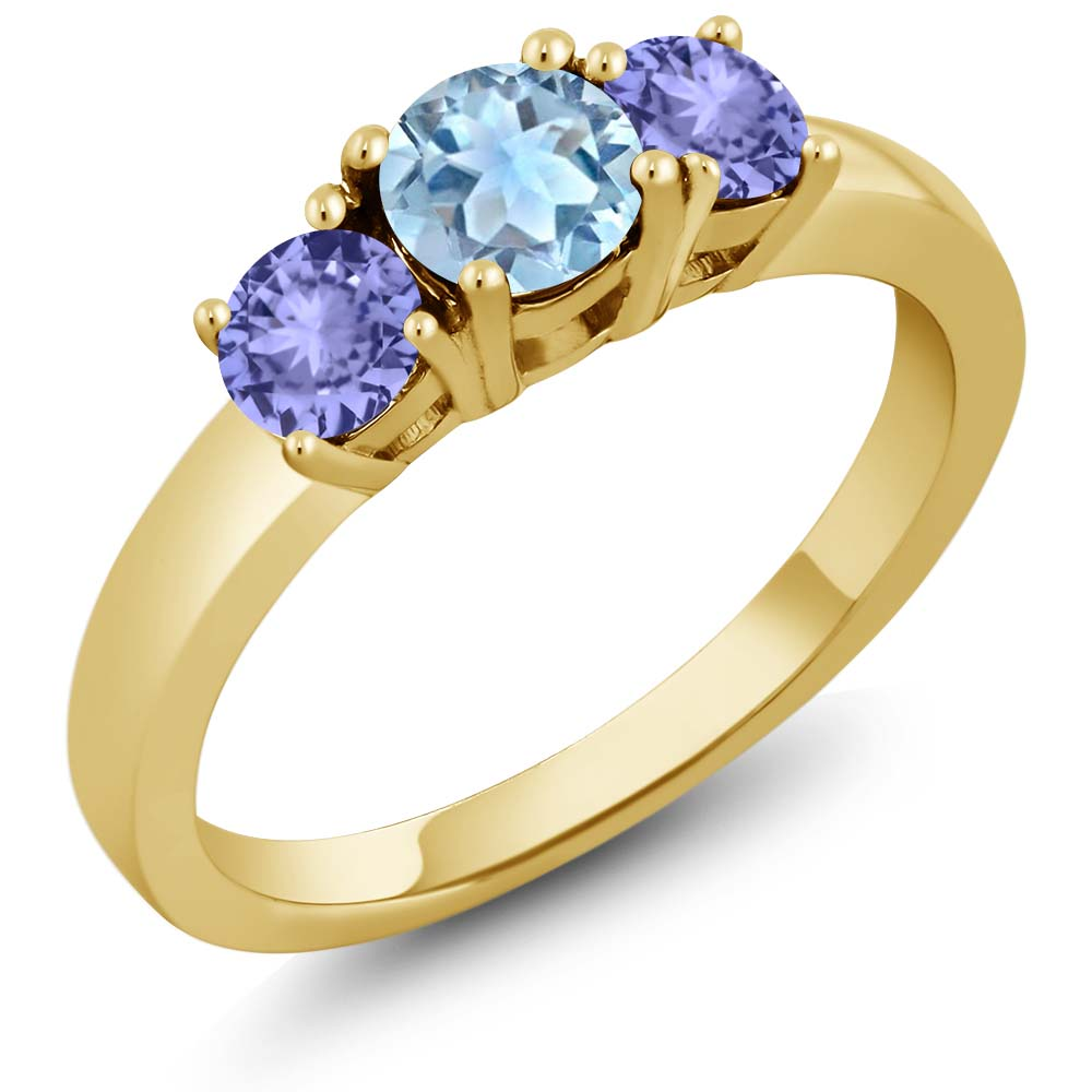 1.05 Ct Sky Blue Aquamarine Blue Tanzanite 925 Yellow Gold Plated Silver Ring