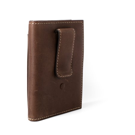 ID Stronghold RFID Leather Wallet Vertical Money Clip with ID - Best RFID Blocking Wallet - Brown (Best Money Clip Wallet)
