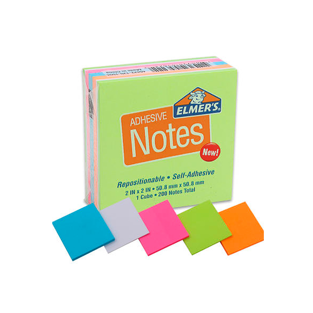 1 Pack Sticky Notes 200 Post It Sheets Cube Self Adhesive Neon Stick Pad 2X2 Lot
