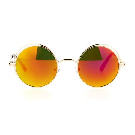 fe1392ac28 SA106 - SA106 Mirrored Mirror Round Circle Len Double Rim Sunglasses Gold  Orange - Walmart.com