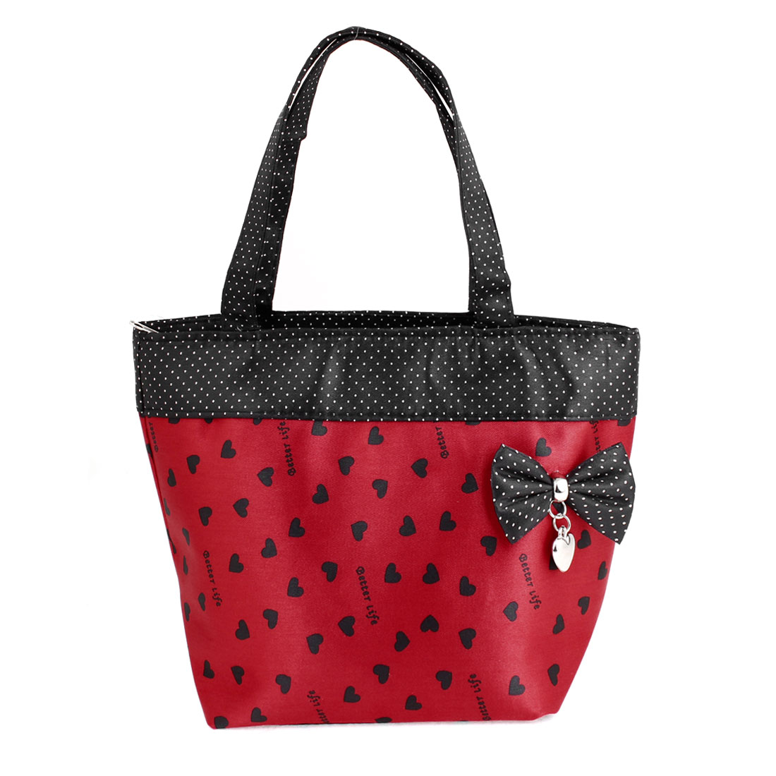 Red Black Portable Bag Bowknot Detail Zip up Polyester Shopping Handbag