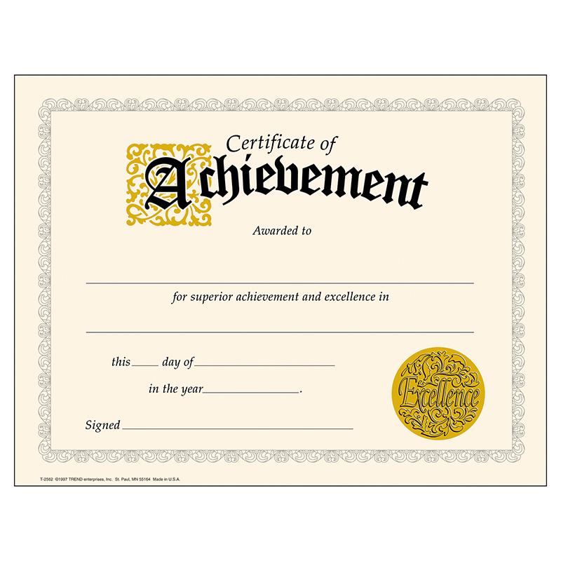 (6 Pk) Certificate Of Achievement 30 Per Pk Classic 8.5X11