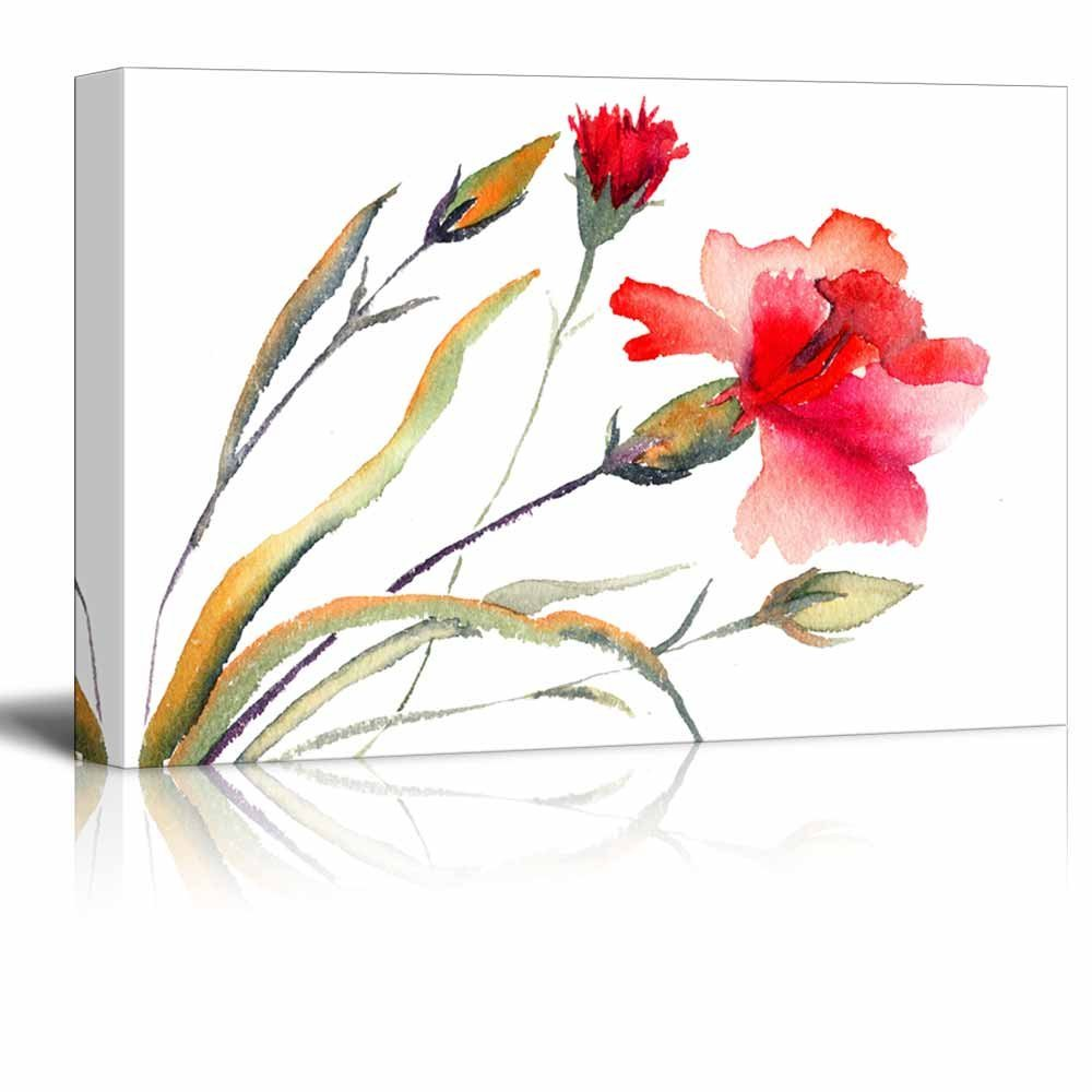 "wall26 Canvas - Red Blooming Carnation Watercolor Art Painting Decor - 24"" x 36"""