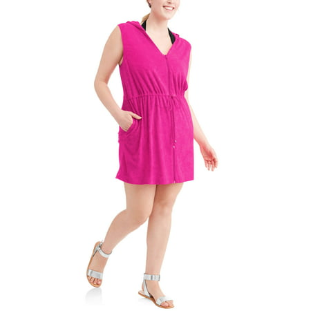 8e40be362db Time and Tru - Women s Plus-Size Zip-Front Hooded Terry Swim Cover-Up -  Walmart.com