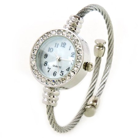 Silver Crystal Bezel Cable Band Women's Small Size Bangle Cuff Watch