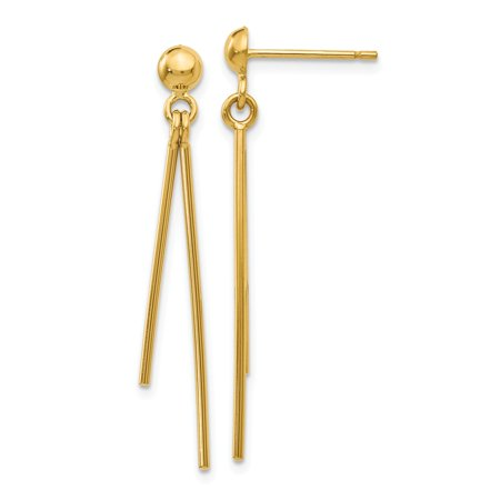 14k Yellow Gold Polished Post Dangle Earrings (1.5IN Long)