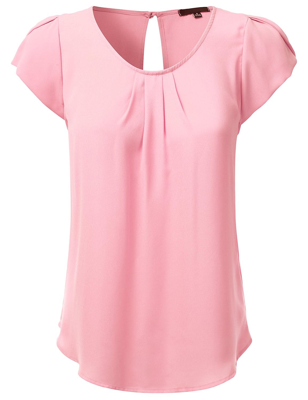 Doublju Women's Woven Petal Short Sleeve Blouse BABYPINK S