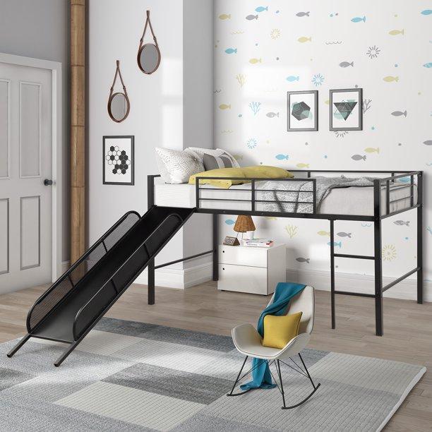Twin Metal Loft Bed with Slide, Heavy Duty Low Loft Bed Frame