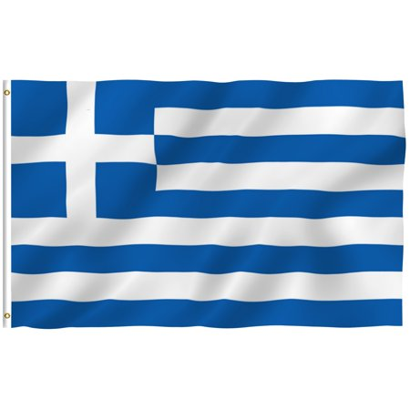 ANLEY [Fly Breeze] 3x5 Feet Greek Flag - Vivid Color and UV Fade Resistant - Canvas Header and Brass Grommets - Greece GR Banner Flags
