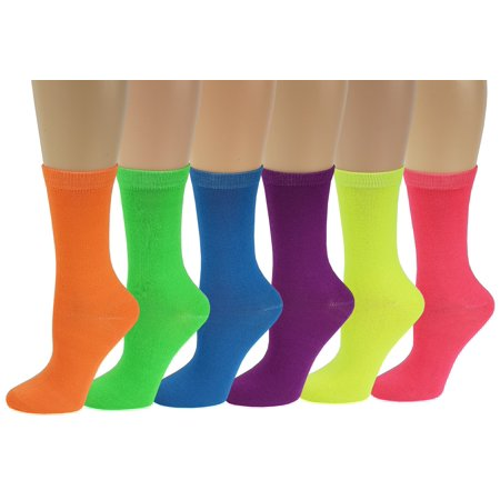 Sumona 6 Pairs Women Fancy Design Solid Neon Color Crew Socks - Long Neon Socks