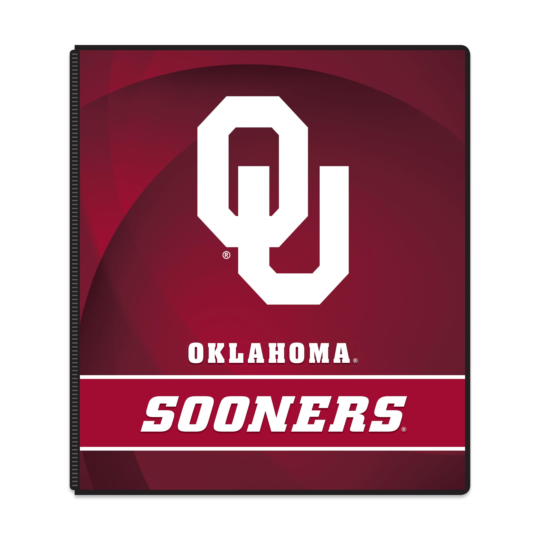 """NCAA Oklahoma Sooners 3 Ring Binder, 175 Sheet Capacity, 1"""" Metal Rings"""