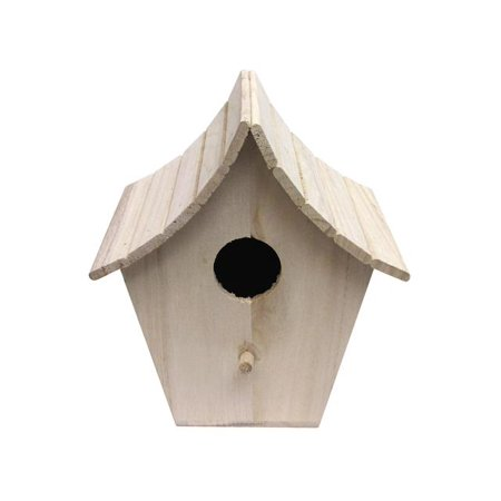 SPC Wood Birdhouse Slat Curved Roof Unfinished