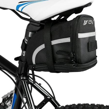 BV Bicycle Black Seat Strap-on Saddle Bag / Seat Bag - Large (Computer Saddle Bag)