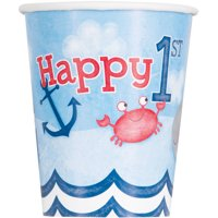 9oz Nautical Boys First Birthday Cups, 8ct