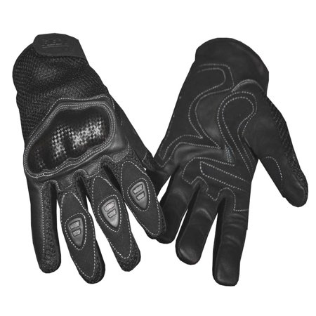 Redline Mens Vented Sports Full Finger Gloves W  Hard Kevlar  Black G 068