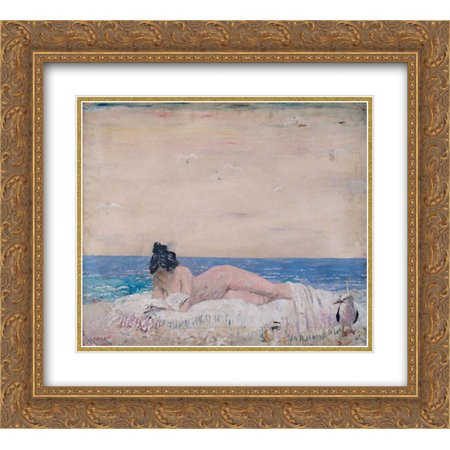 William Orpen 2x Matted 24x20 Gold Ornate Framed Art Print 'Nude Female Model (Reading On The Seashore) 1930'