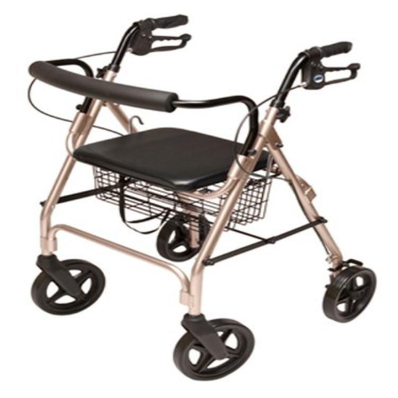 Lumex Aluminum Rollator with Curved Back Wheels, 8 Inches, Champagne