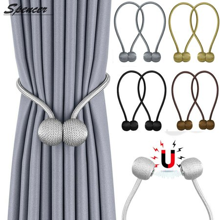 Spencer 1Pair Magnetic Curtain Tiebacks Window Buckle Weave Rope Clips Window Sheer Curtain Holdbacks Holders for Home, Office Decorative