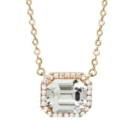 14KT GOLD FLASH PLATED PEACH CRYSTAL NECKLACE, 18