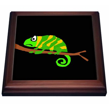 3dRose Funny Green and Yellow Chameleon Primitive Art - Trivet with Ceramic Tile, 8 by 8-inch