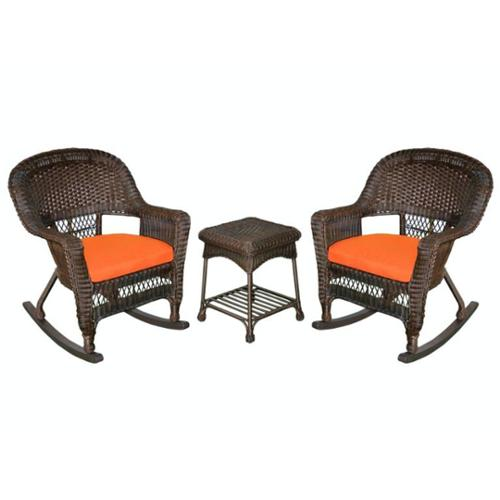 3-Piece Espresso Wicker Patio Rocker Chairs & Table Furniture Set - Orange Cushions