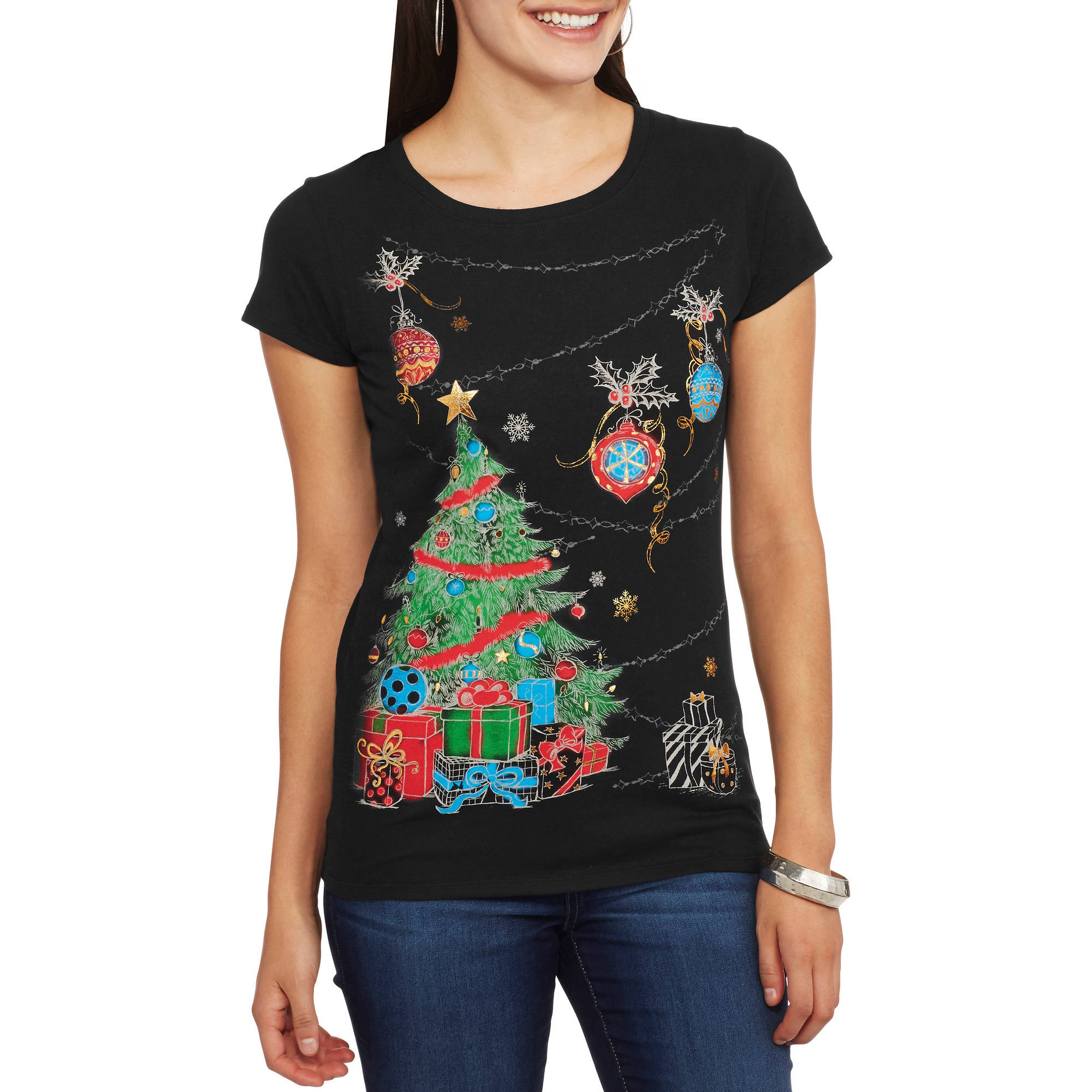 Women's Presents Around the Tree Short Sleeve Graphic Christmas T-Shirt