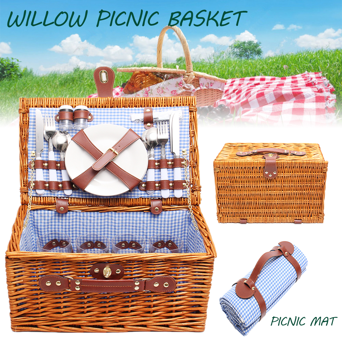 4 Person Wicker Picnic Basket W/ Cutlery, Plates, Glasses, Tableware & Blanket