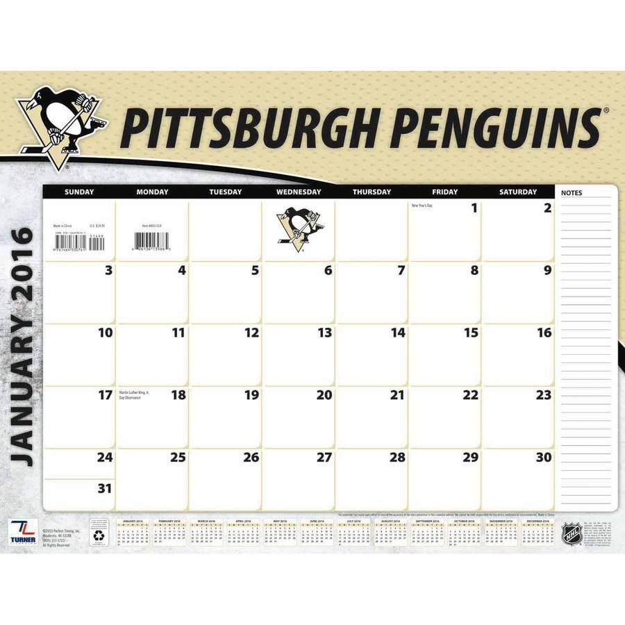Turner Pittsburgh Penguins 2016 22 Quot X 17 Quot Desk Calendar