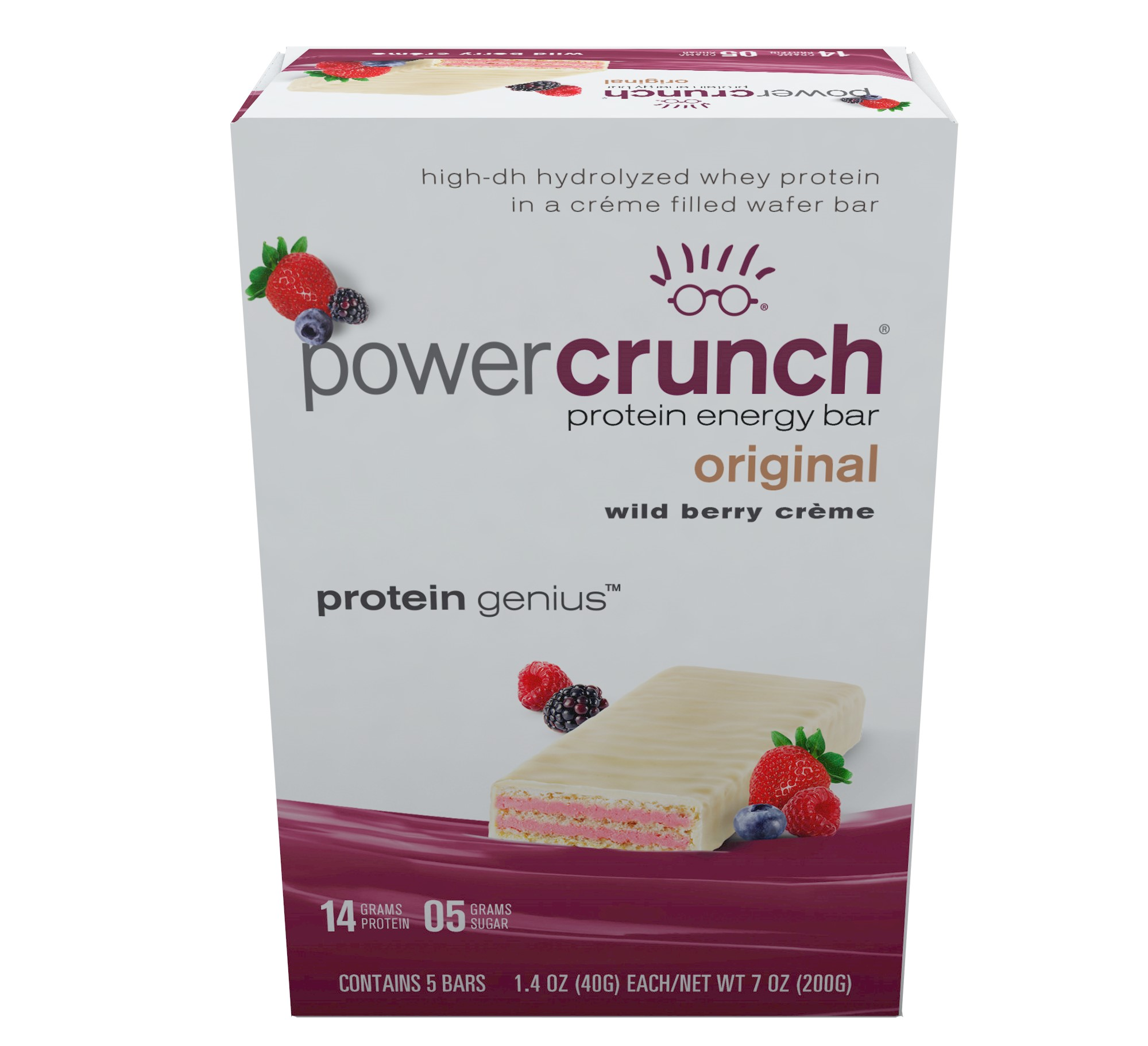 Power Crunch Protein Energy Bar, Wild Berry Cream, 14g Protein, 5 Ct