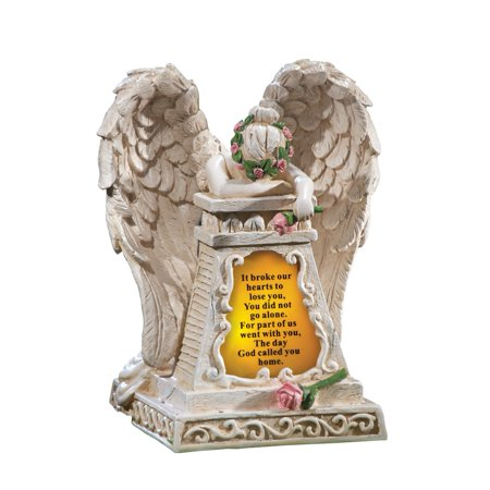 Solar Lighted Stone-Finished Weeping Angel Garden Memorial, Beige