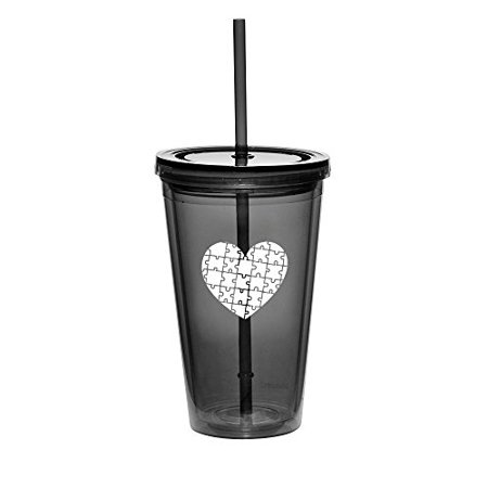 16oz Double Wall Acrylic Tumbler Cup With Straw Heart Puzzle Autism (Black)