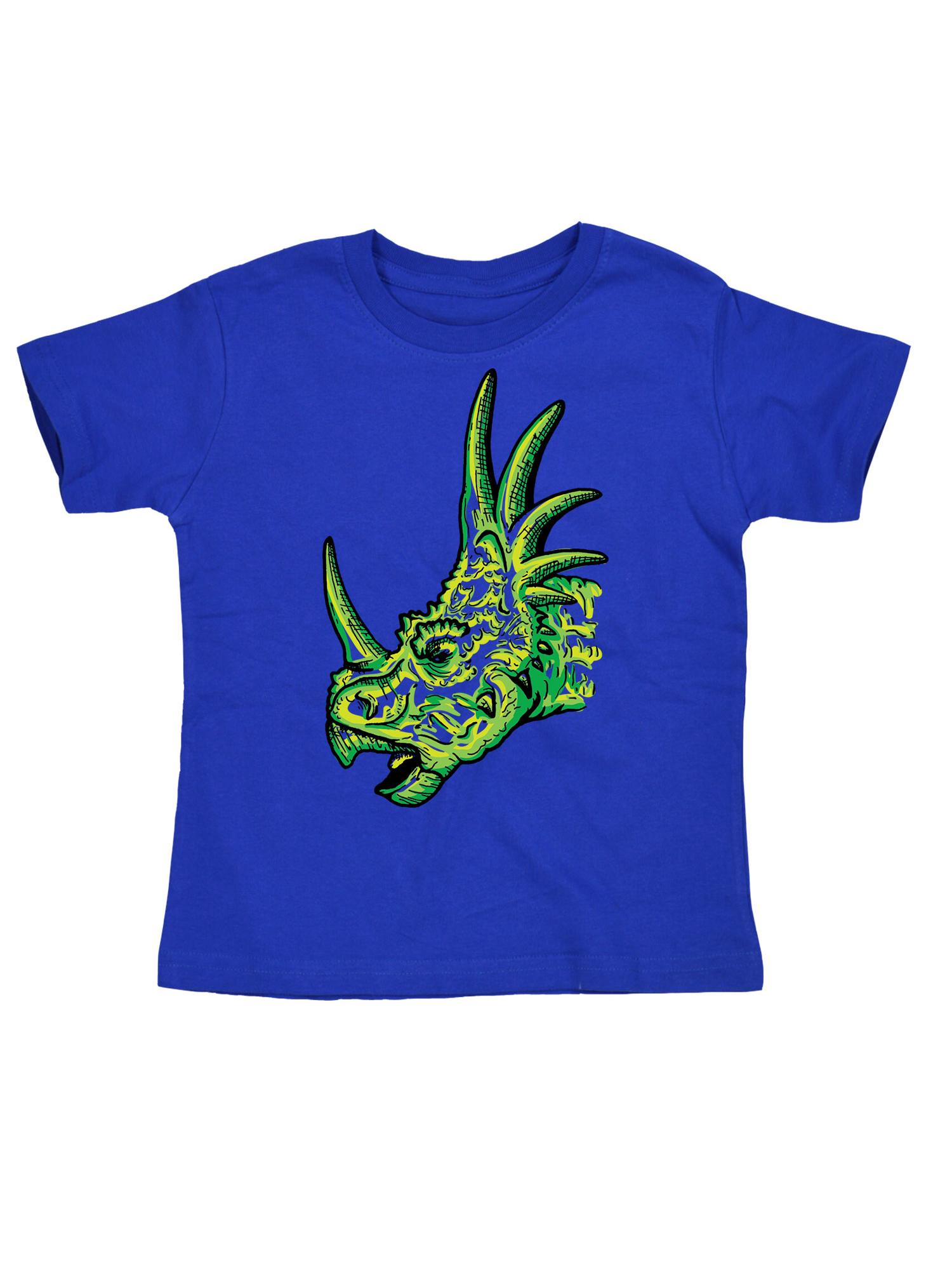Sketched Styracosaurus Head Dino Dinosaur Horn Fashion Novelty Toddler T-Shirt