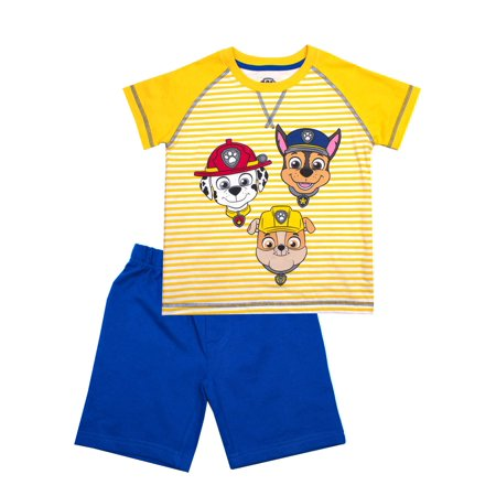 Paw Patrol Short Sleeve Stripe Paw Patrol Tee and French Terry Shorts, 2-Piece Outfit Set (Little Boys)](Paw Patrol Apparel)