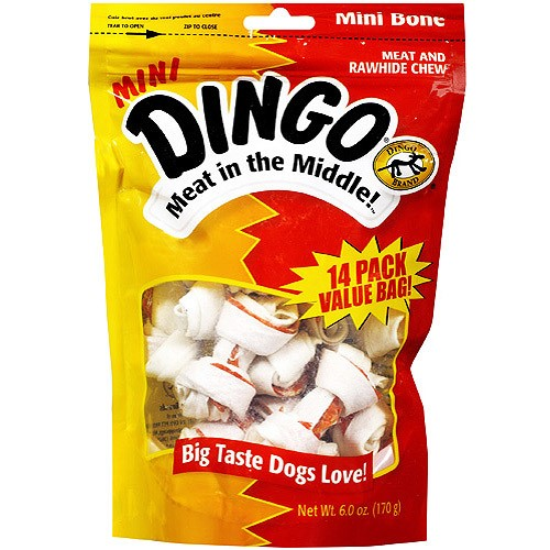 Dingo Meat in the Middle! Mini Meat & Rawhide Chew Dog Treats, 14 Ct