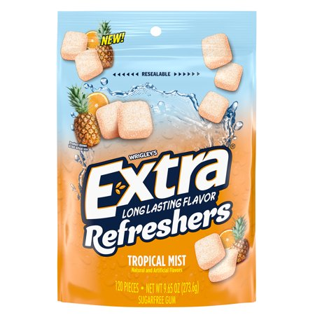 EXTRA Refreshers Tropical Mist Chewing Gum, 9.65 Ounces, 120 Pieces
