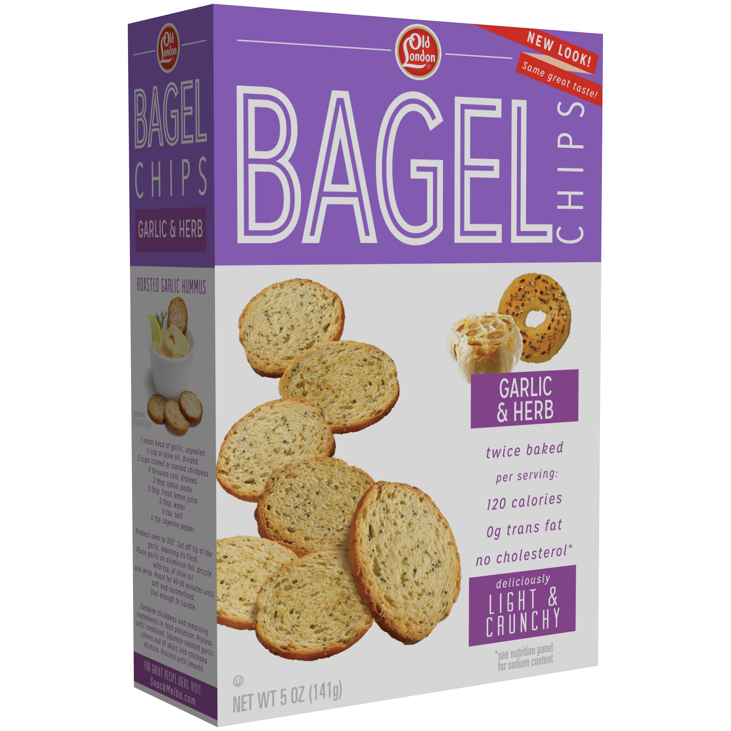 Old London? Garlic & Herb Bagel Chips 5 oz. Box