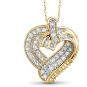 JewelersClub 1.00 Carat T.W. White Diamond Gold over Silver Heart Pendant